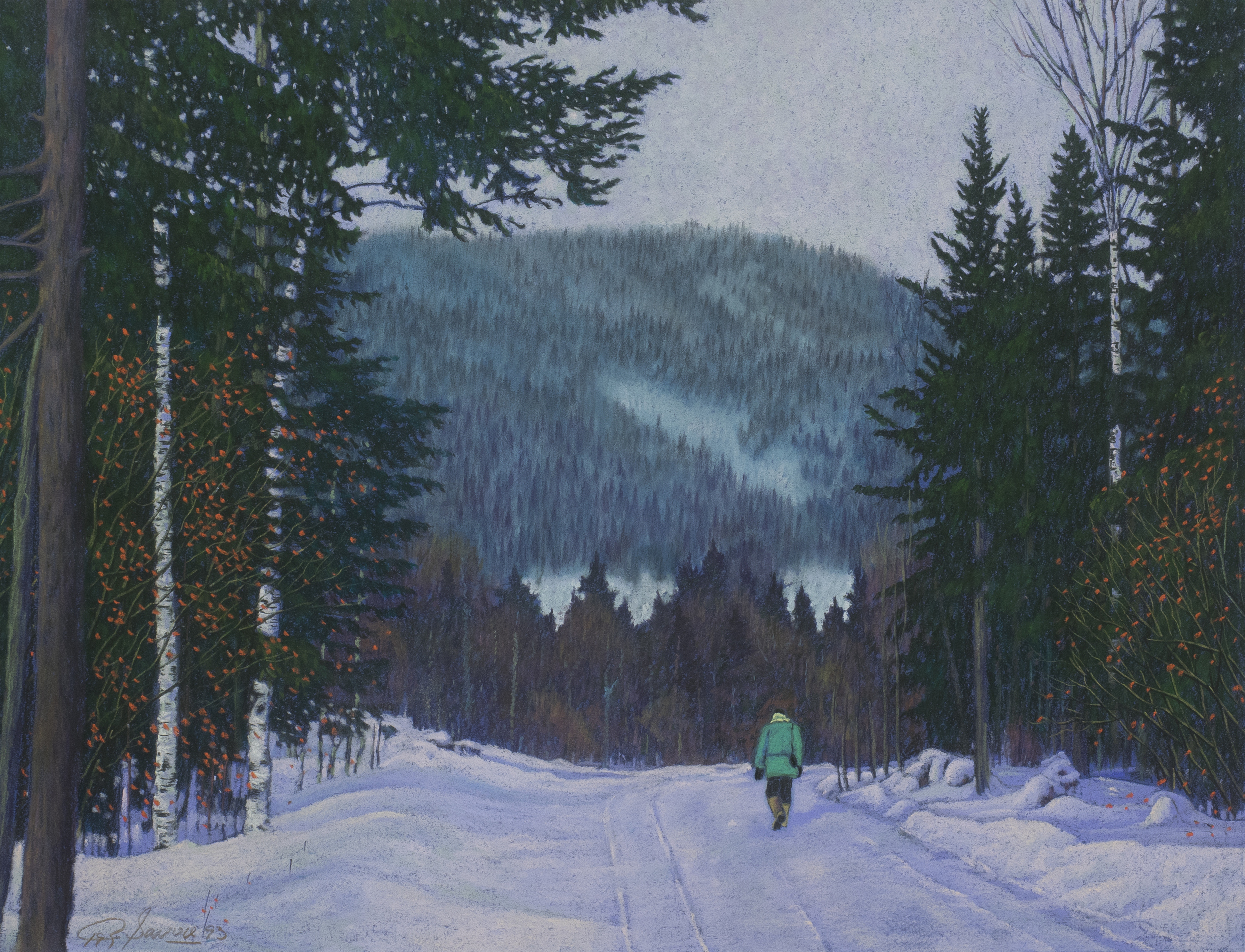 Walking the ski trail