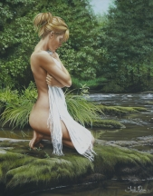 Aperçu de l'œuvre: Sans titre (femme agenouillée près d'un ruisseau)