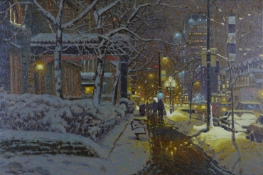 Artwork preview: No title (snowy street at night)