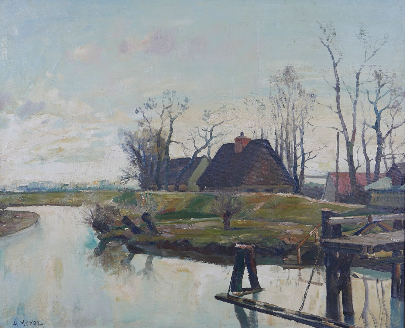 Houses by winding river